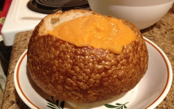 carrot soup in bread bowl